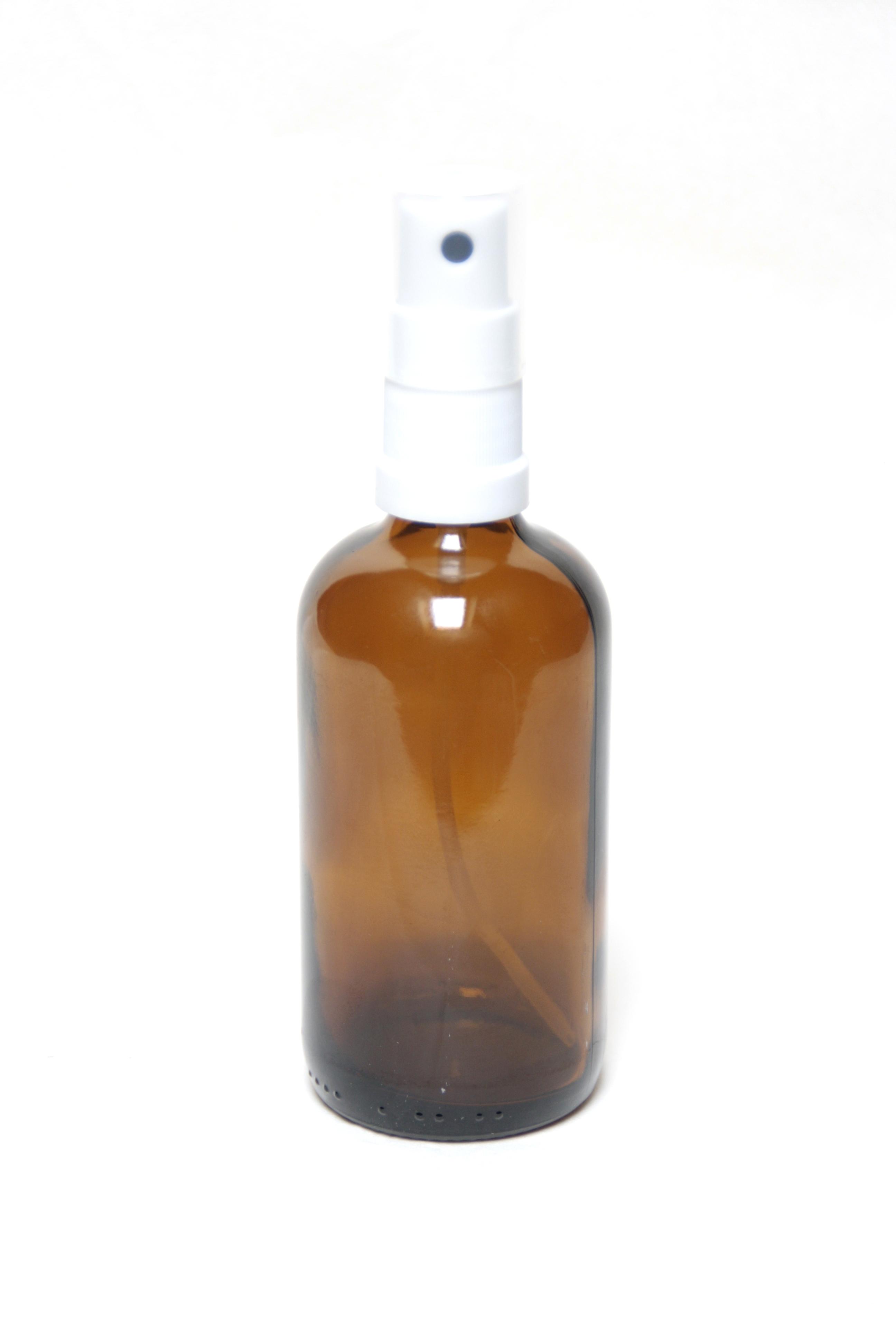 Braunglasflasche 100 ml mit Zerstäuber in weiß