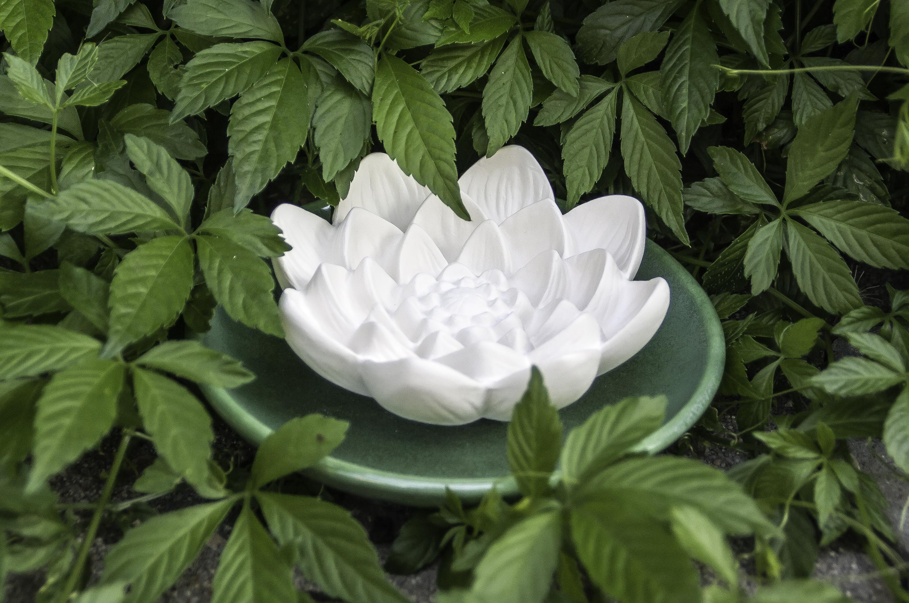 Duftstein Lotusblüte groß - mit grünem glasierten Untersetzer