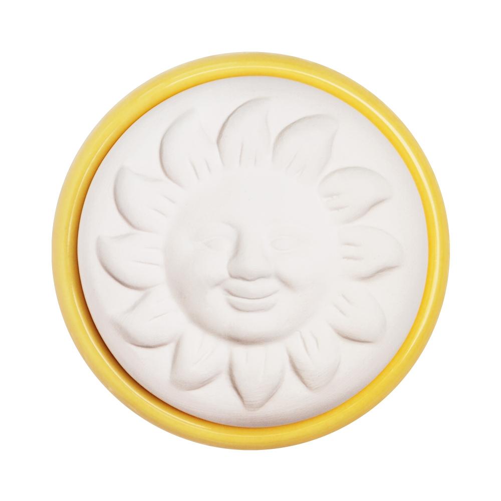 Duftstein Sonne mit gelben Untersetzer