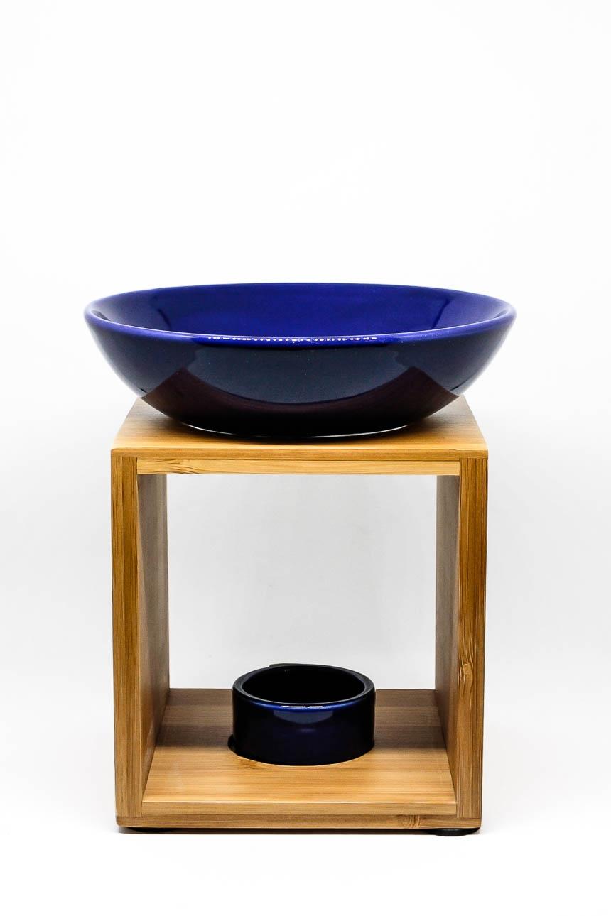 Duftlampe Malmö Bambusholz mit blauer Keramik-Schale
