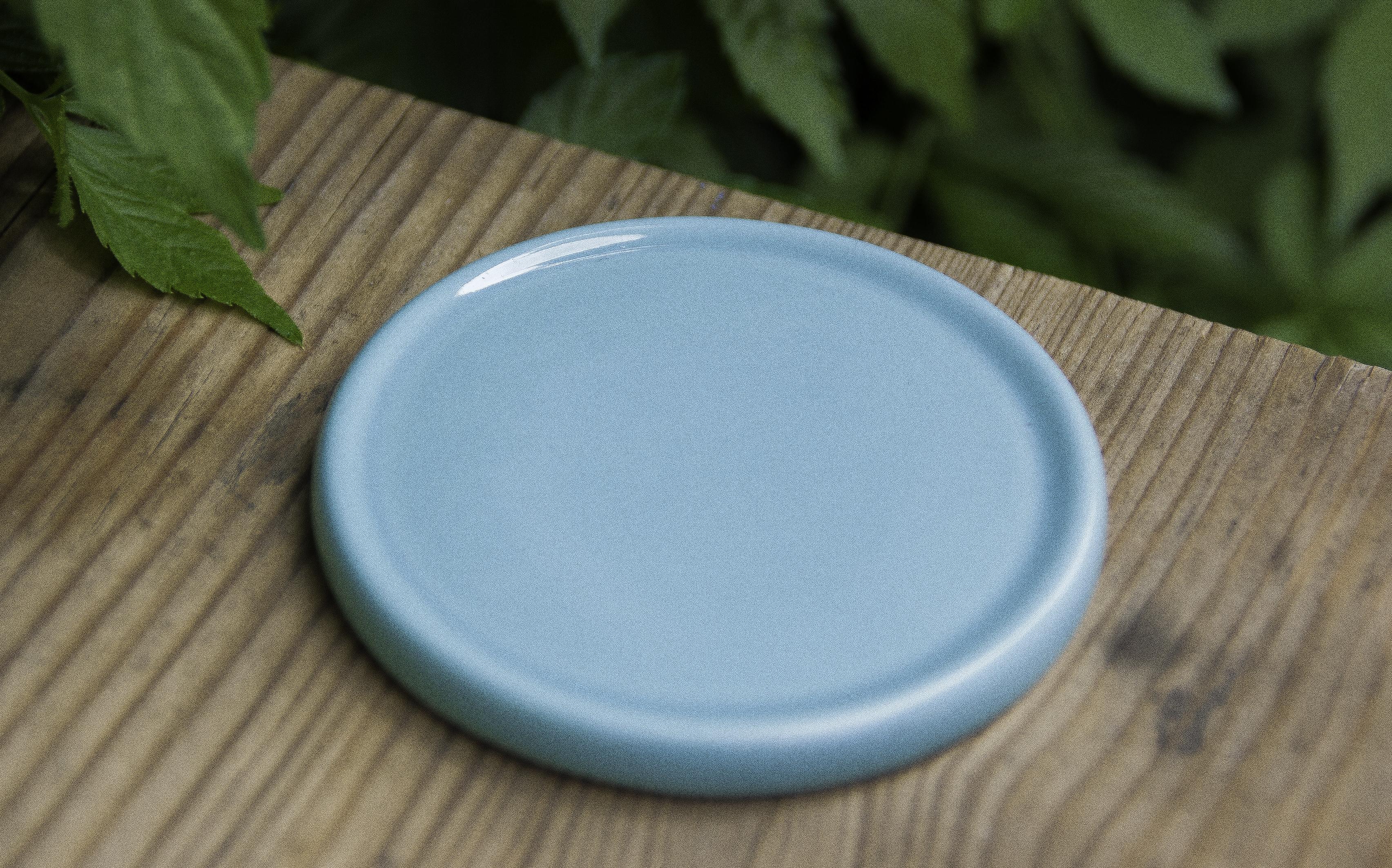 Keramik-Untersetzer für Duftsteine - türkisblau